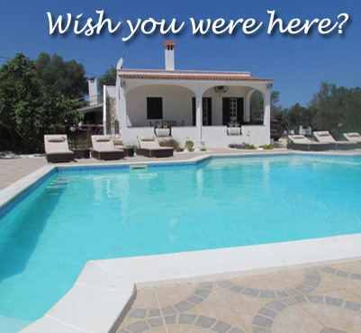 The swimming pool at the Villa Gemelli - available for holiday lets.